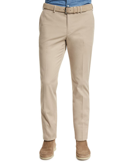 Loro Piana Stretch-Cotton Slim-Fit Trouser Pants, Sand