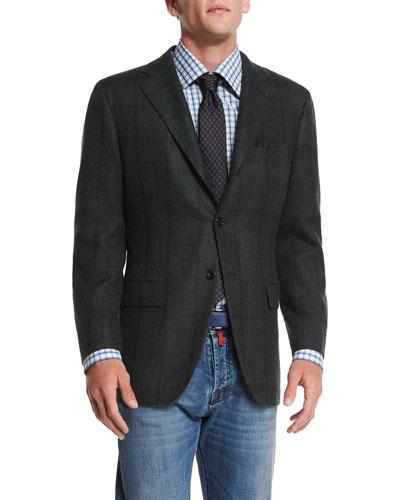 Cashmere Plaid Sport Coat, Olive