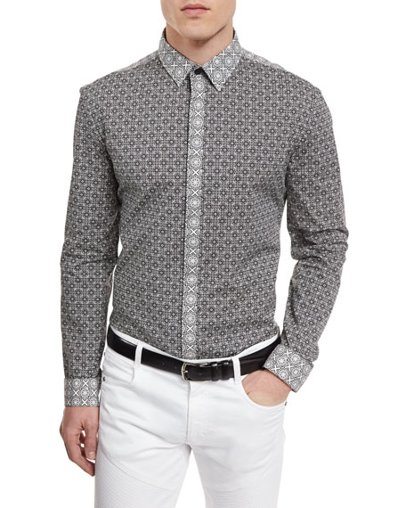 Versace Collection Multi-Print Colorblock Silk Sport Shirt, Black/White