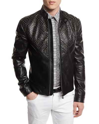 Grommet-Detail Leather Jacket, Black