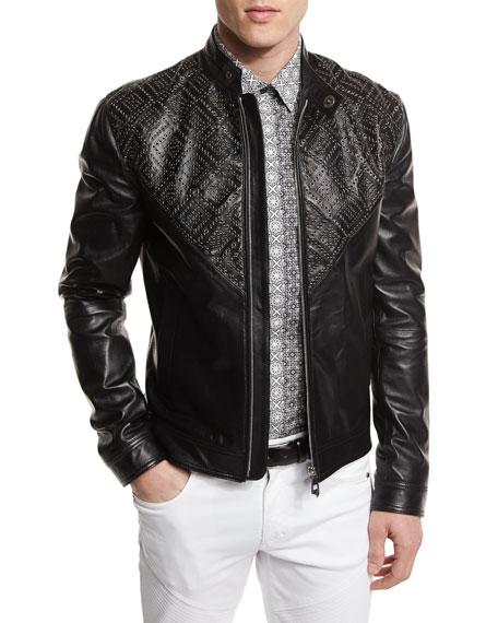 Versace Collection Grommet-Detail Leather Jacket, Black