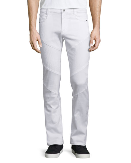 Versace Collection Solid Slim-Fit Moto Denim Jeans, White