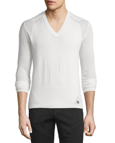 V-Neck Sweater with Mesh Sleeves, Beige