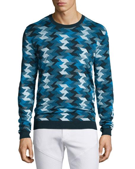 Versace Collection Geometric-Print Stitched Crewneck Sweater, Blue