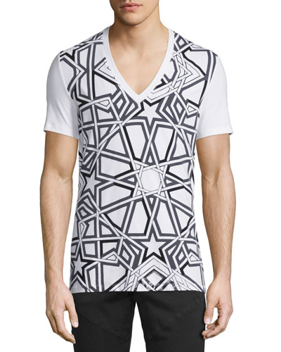 Interlock Star-Print V-Neck Tee, Black/White