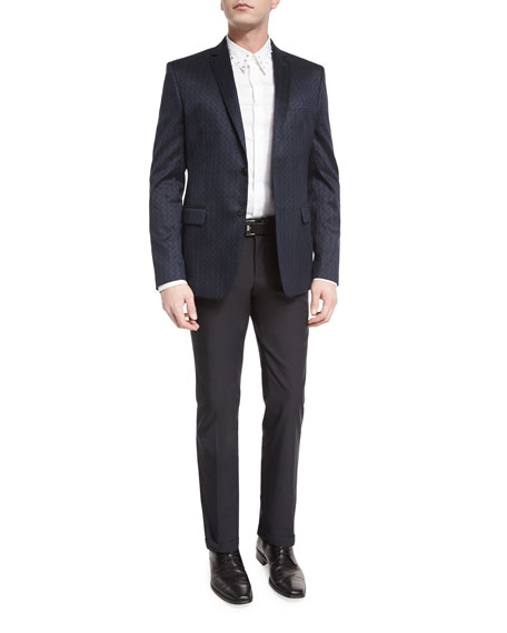 Versace Collection Tonal Geometric-Print Two-Button Jacket, Black/Blue
