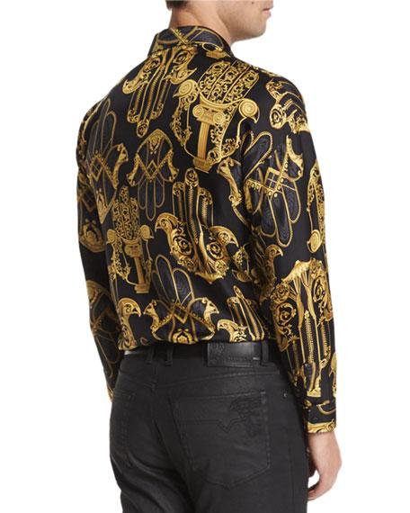 883b4e905162 Versace Collection Baroque-Pattern Long-Sleeve Shirt & Five-Pocket ...