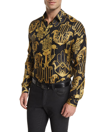 Baroque-Pattern Long-Sleeve Shirt, Black/Gold