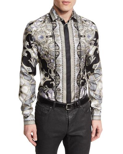 Baroque-Print Long-Sleeve Shirt, Gray Pattern