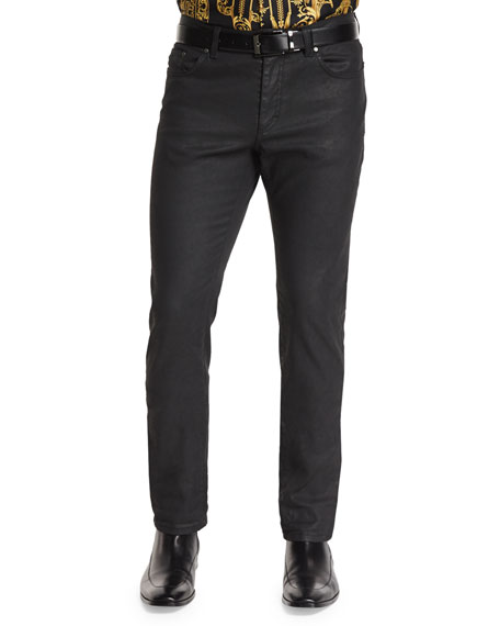 Versace Collection Five-Pocket Coated Denim Jeans, Dark Blue
