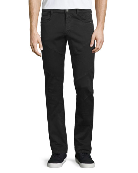 Versace Collection Five-Pocket Moto Denim Jeans, Black