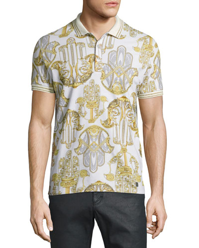 Baroque-Print Short-Sleeve Pique Polo Shirt, White/Gold