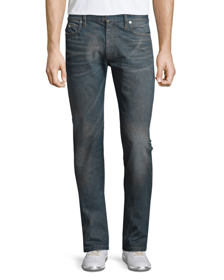 Maison Margiela Resin-Coated Slim-Fit Denim Jeans, Blue