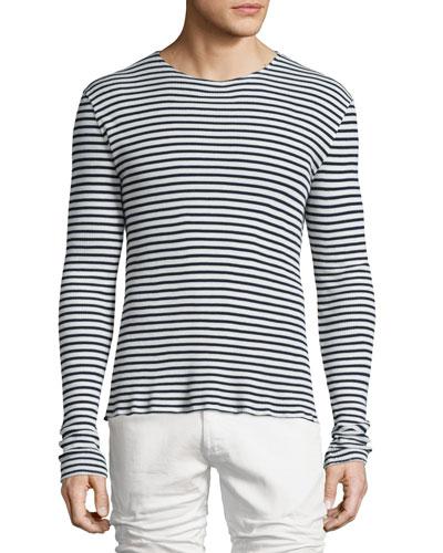 Striped Long-Sleeve Sweater, Navy