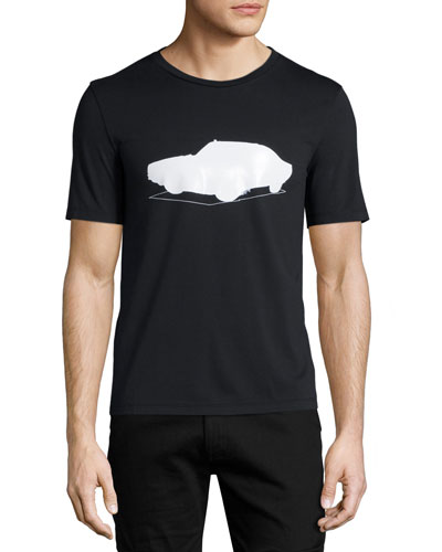 Shadow-Car Graphic Short-Sleeve T-Shirt, Black