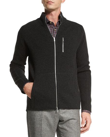 Kiton Full-Zip Cashmere Sweater, Charcoal