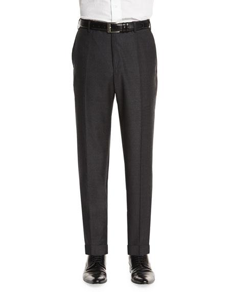 Zanella Parker Flat-Front Sharkskin Trousers, Charcoal