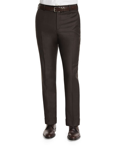 Parker Sharkskin Flat-Front Trousers, Brown