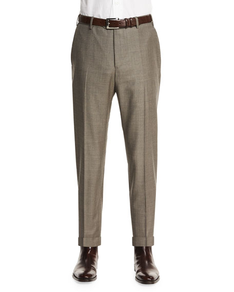 Zanella Parker Flat-Front Sharkskin Trousers, Taupe