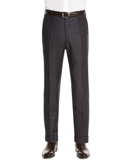 Zanella Parker Flat-Front Check Trousers, Navy/Brown