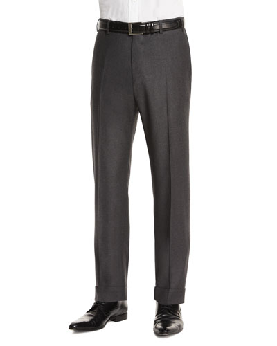 Parker Flat-Front Super 130's Flannel Trousers, Charcoal
