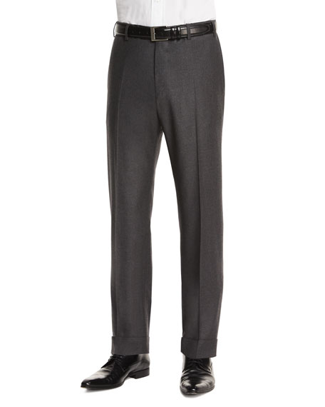 Zanella Parker Flat-Front Super 130's Flannel Trousers, Charcoal
