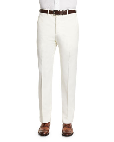 Parker Tasmanian Serge Flat-Front Trousers, White