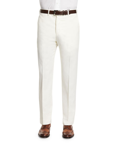 Zanella Parker Flat-Front Super 150's Trousers, White