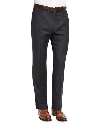 Parker Grid-Print Flat-Front Trousers, Charcoal