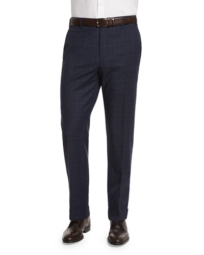 Parker Plaid Flat-Front Trousers, Blue