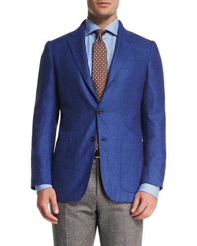 Tonal Houndstooth Three-Button Sport Coat, Blue