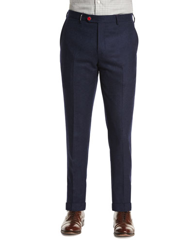 Cashmere-Blend Flat-Front Trousers, Navy