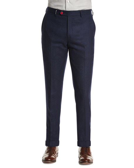 Kiton Cashmere-Blend Flat-Front Trousers, Navy