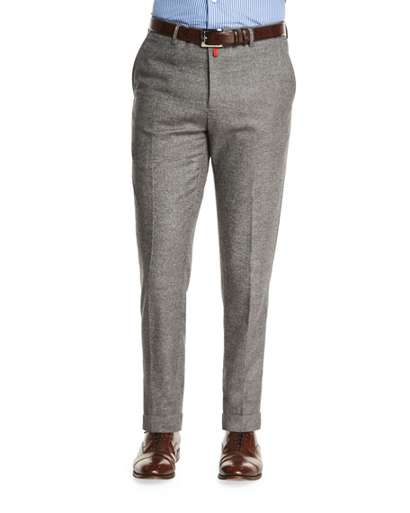 Kiton Flat-Front Cashmere-Blend Trousers, Gray