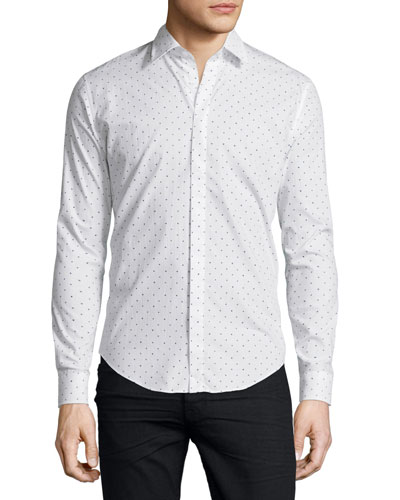 Heart-Print Slim-Fit Sport Shirt, White/Black