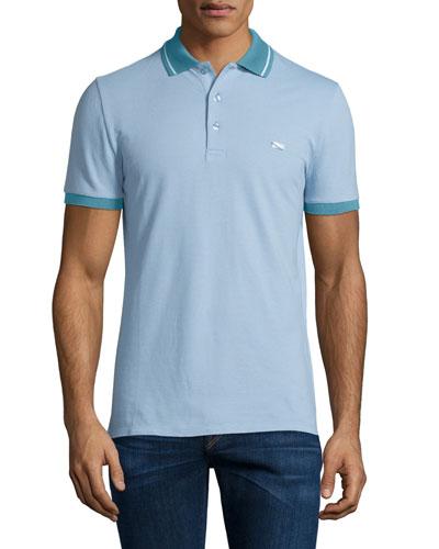 Short-Sleeve Contrast-Collar Polo Shirt, Sky Blue/White