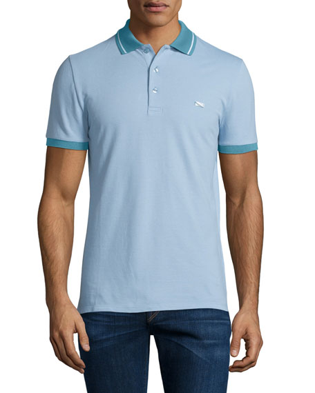 Burberry London Short-Sleeve Contrast-Collar Polo Shirt, Sky