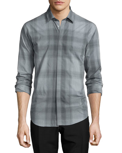 Modern Fit Check Sport Shirt, Mid Gray Melange
