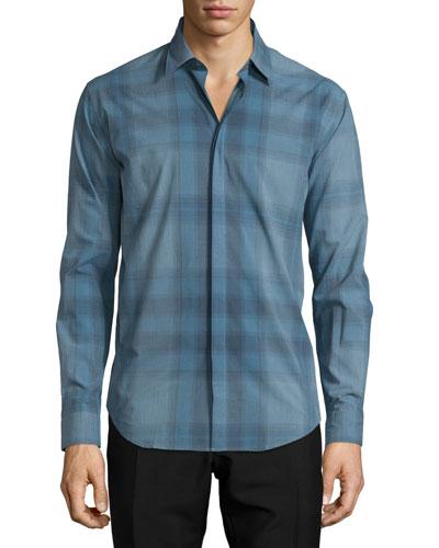 Modern-Fit Check Sport Shirt, Stone Blue