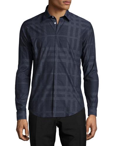 Slim-Fit Check Sport Shirt, Navy