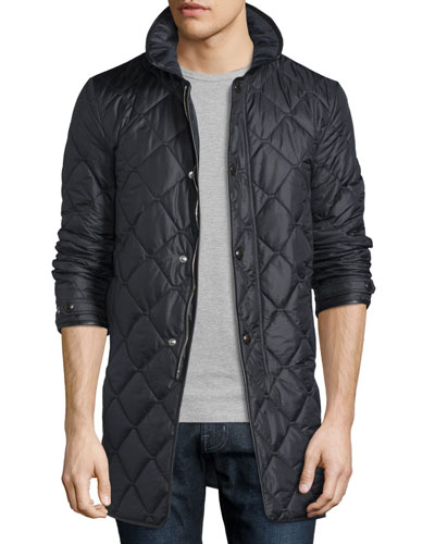 Quilted Nylon Carcoat, Black