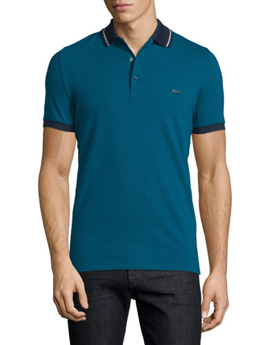 Tipped Pique Short-Sleeve Polo Shirt, Mineral Blue/Stone