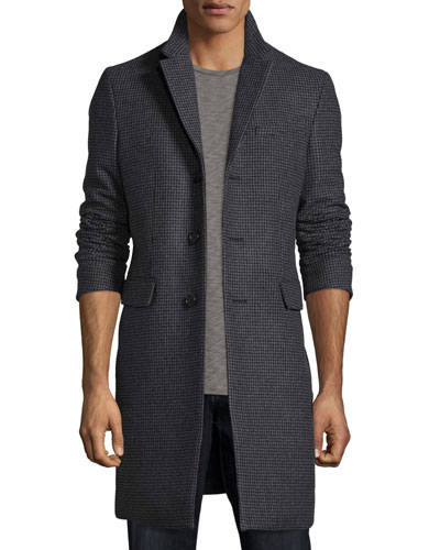 Houndstooth Cashmere-Blend Carcoat, Charcoal