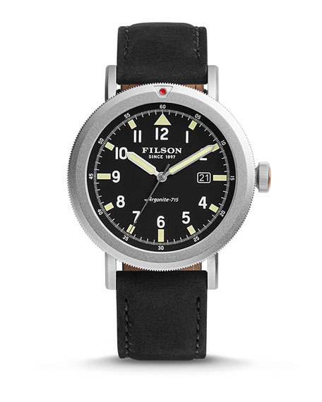 Filson 45.5mm Scout Watch with Leather Strap, Black