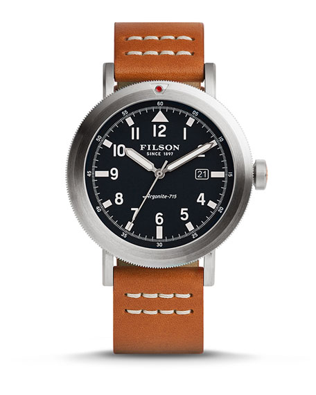 Filson 45.5mm Scout Watch with Leather Strap, Blue/Tan