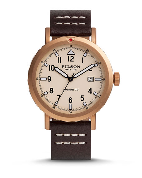 Filson 45.5mm Scout Watch with Leather Strap, Brown