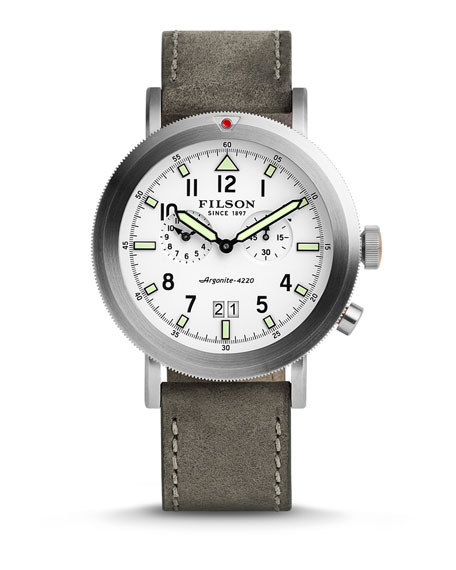 Filson 45.5mm Scout Watch with Leather Strap, White/Gray
