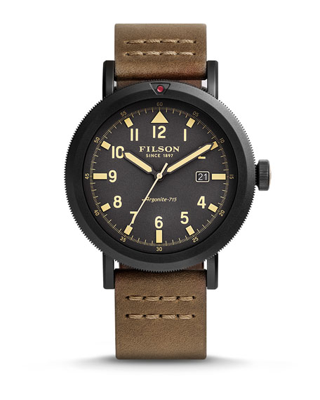 Filson 45.5mm Scout Watch with Leather Strap, Gray