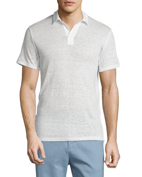 Vince Johnny-Collar Short-Sleeve Polo Shirt, Linen White