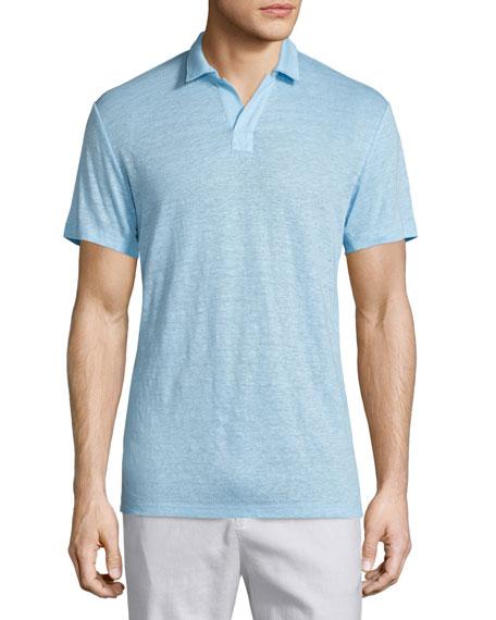 Vince Short-Sleeve Linen Polo Shirt, Aquamarine